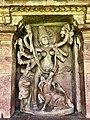 8th century Durga Surya temple goddess Mahishasuramardini with powers of all gods killing buffalo demon, Aihole Hindu temples and monuments.jpg