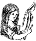 Illustration of Alice by Lewis Carroll - Alice's Adventures Under Ground, the facsimile edition published by Macmillan in 1886
