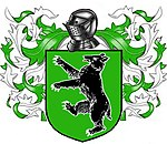 A coat of arms showing a black bear on a green field.