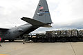 A U.S. Air Force C-130 Hercules aircraft assigned to the 107th Airlift Wing is loaded with 30,000 bottles of water at Stewart Air National Guard Base in Newburgh, N.Y. 121102-F-ZP861-886.jpg