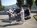 A couple on a cycling trek on banks of Rhine River(Germany).jpg
