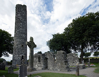 Monasterboice - Round tower, high cross, church and gravestones at Monasterboice