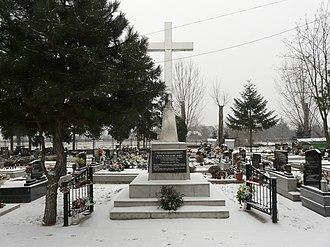 Leopoldov Prison - A memory on Leopoldov's cemetery dedicated to graecocatholic bishop from Prešov Pavol Peter Gojdič (died on 17 July 1960) and Metod Dominik Trčka who died in Leopoldov Prison on 23 March 1959.