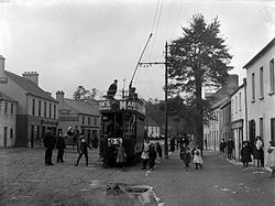 Douglas at the turn of the 20th century, with a Cork Electric Tramways and Lighting Company tram
