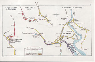 Railway stations in Newport - Railway Clearing House map from 1905