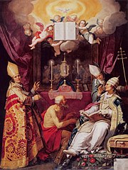 Vier kerkvaders: Augustinus, Hieronymus, Gregorius en Ambrosius