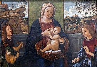 Girolamo dai Libri - Image: Accademia Madonna col Bambino e angeli musicanti Girolamo Dai Libri