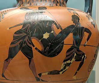 Greek mythology - Achilles and Penthesileia by Exekias, c. 540 BC, British Museum, London.