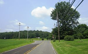 Ackors Corner, New Jersey - Ackors Corner as seen from westbound Pennington-Harbourton Road at CR 579