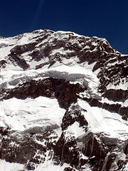 Close-up of Aconcagua's summit from rescue helicopter