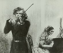 A violinist and a pianist playing, with her sitting at the piano partly shown on the right, while he plays towards the left, more in the foreground
