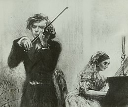 Joachim and Clara Schumann (1854), drawing by Adolph Menzel (Source: Wikimedia)