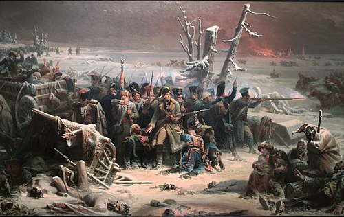 The epic retreat of Marshal Ney's rear guard at Krasnoi; by Adolphe Yvon. Adolphe Yvon (1817-1893) - Marshall Ney at retreat in Russia.jpg