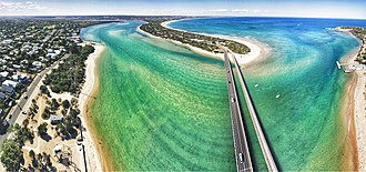 Barwon Heads, Victoria - Aerial panorama of Barwon Heads Bridge (2018)