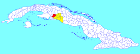 Aguada municipality (red) within  Cienfuegos Province (yellow) and Cuba