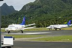 Air Rarotonga Embraer EMB110P1 'Bandeirante' E5-TAK and E5-TAI at RAR (26640338226).jpg