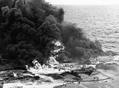 Aircraft burning on USS Enterprise (CVN-65)