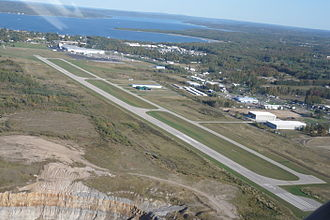 Charlevoix Municipal Airport - Aerial view, September 2007