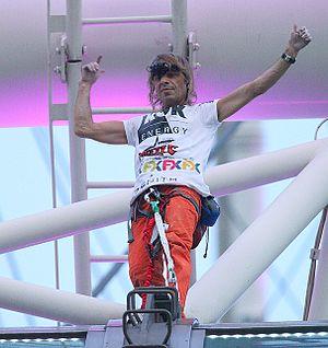 Alain Robert - Alain Robert upon successfully scaling the Singapore Flyer.