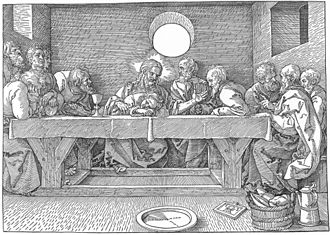 Last Supper (Tintoretto) - Albrecht Dürer's woodcut The Last Supper (1523) exemplifies the frontal composition that is customary for this subject.
