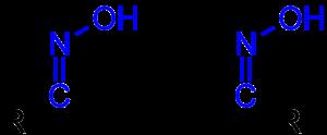 Descriptor (Chemistry) - Isomerie der Aldoxime: links ein früher als syn-, heute als (E)-konfiguriert zu beschreibendes Aldoxim, rechts das entsprechende (Z)-  (veraltet: anti)-Isomer.