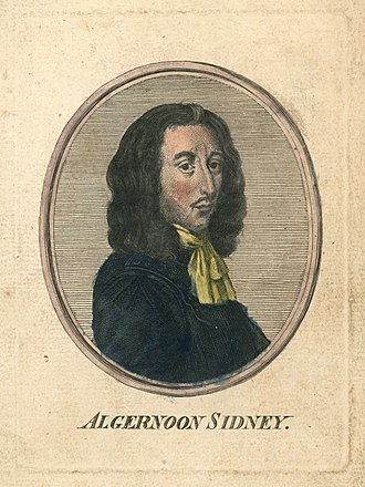 Algernon Sidney - 18th century hand-coloured engraving of Sidney. Unknown engraver, unknown colourist.
