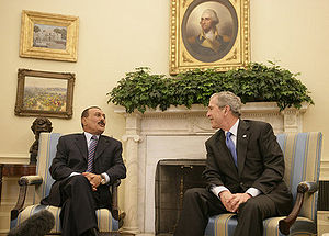 Ali Abdullah Saleh - Saleh with George W. Bush