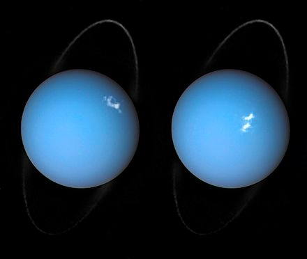 Aurorae on Uranus taken by the Space Telescope Imaging Spectrograph (STIS) installed on Hubble. Alien aurorae on Uranus.jpg