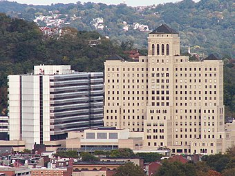 Allegheny General, the flagship of the Allegheny Health Network Allegheny General Hospital from West End Overlook.jpg