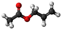 Ball-and-stick model of the allyl acetate molecule