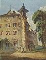 Alte Kanzlei Stuttgart, Nordwestecke mit der Merkursäule, Aquarell vor 1862.jpg