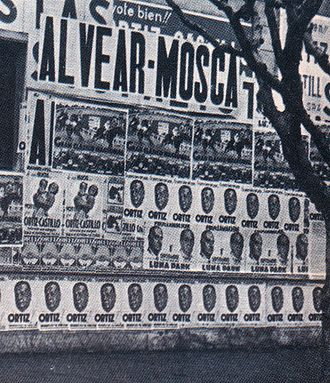 1937 Argentine presidential election - Campaign posters festoon a Buenos Aires wall in 1937.