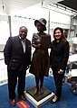 Amanda Matthews with Roland Martin at Newseum, Washington, DC for unveiling of Alice Dunnigan statue.jpg