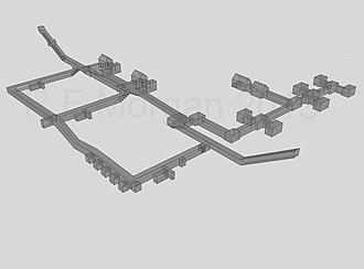 Pyramid of Amenemhat III (Dahshur) - Underground chambers of Amenemhet III's pyramid at Dashur, taken from a 3-d model