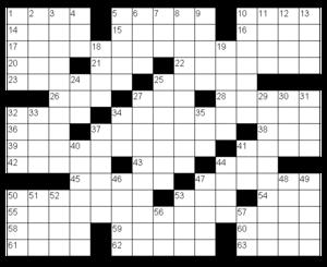 Sample American-style crossword grid
