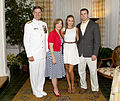 An Evening Parade guest of honor, Vice Chief of Naval Operations Adm. Mark E. Ferguson III, left, poses for a photo with his family during the Evening Parade reception at the Home of the Commandants 130607-M-NK962-041.jpg
