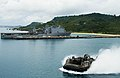 An LCAC passes the amphibious dock landing ship USS Ashland. (21064032025).jpg