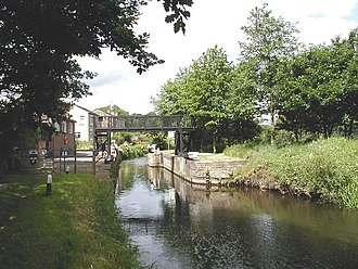 Calder and Hebble Navigation - Anchor Pit Flood Gates protect the Kirklees Cut when river levels are high.