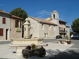 Andon, Alpes-Maritimes - Victorin Bonhomme Square at the centre of the village and the church