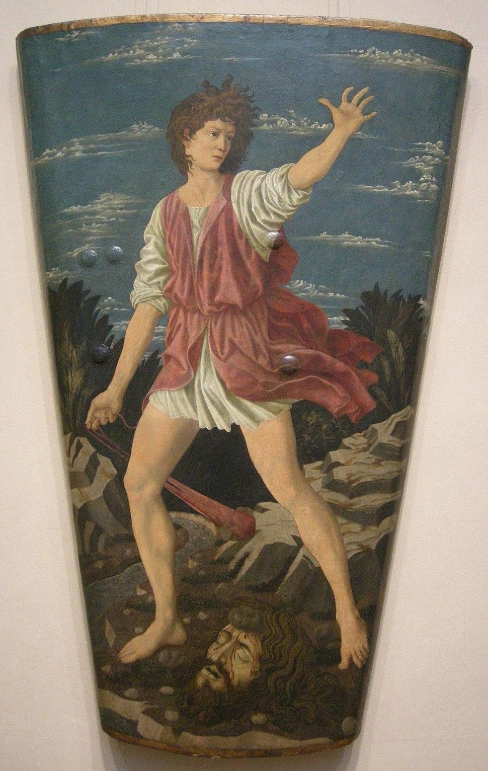 Andrea del castagno, scudo di david con la testa di golia, 1450-55 circa, 02