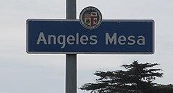 Angeles Mesa neighborhood sign on the southwest corner of Arlington Avenue and 48th Street