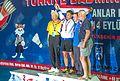 Ankara - BWF World Senior Badminton Championships - MS 70 Medal Winners - GOLD-Seri Chintanseri (THAI) - Silver Koji Tanaka (JPN) - BRONZE Hans Schumacher (GER) & Osmo Perkinen (FIN) (11078102715).jpg