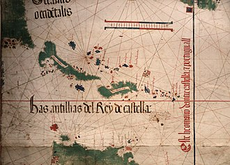 South Carolina - Top left, the shores of Florida and the future Carolina explored in 1500 and showed in 1502 on the Cantino planisphere.