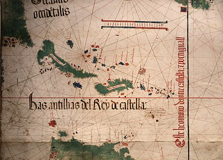 Top left, the shores of Florida and the future Carolina explored in 1500 and showed in 1502 on the Cantino planisphere. Anonimo portoghese, carta navale per le isole nuovamente trovate in la parte dell'india (de cantino), 1501-02 (bibl. estense) 02.jpg