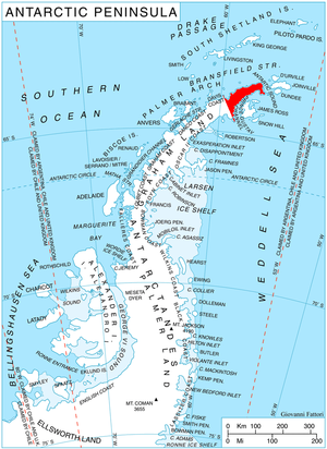 Abrit Nunatak - Location of Trinity Peninsula.