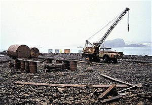 Antarctic Treaty System - Disposal of waste by simply dumping it at the shoreline such as here at the Russian Bellingshausen Station base on King George Island in 1992 is no longer permitted by the Protocol on Environmental Protection