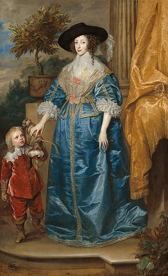 Henrietta Maria of France - Henrietta Maria, with her court dwarf, Jeffrey Hudson. A monkey is usually symbolic of an advisor to fools, such as court dwarves, but in this case is believed to represent Henrietta Maria's menagerie of pets; the orange tree represents her love of gardens.