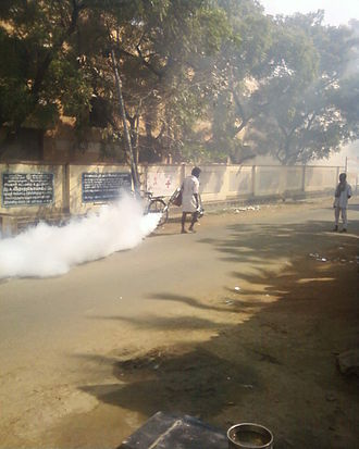 Mosquito control - Anti-mosquito fogging operation P.Ramachandrapuram Village in India