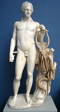 2nd century AD Roman statue of Apollo depicting the god's attributes—the lyre and the snake Python