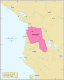 The Principality of Arbanon in 1210 as part of the Despotate of Epirus